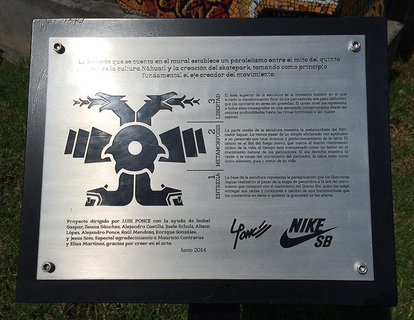 Plaque sur la peinture du Skatepark Templo mayor
