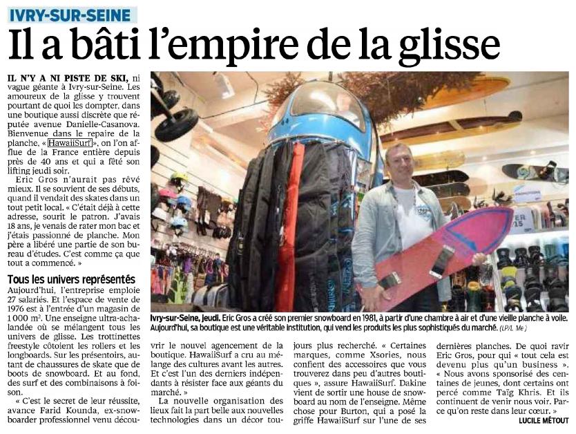 HawaiiSurf dans le Parisien - l'empire de la glisse