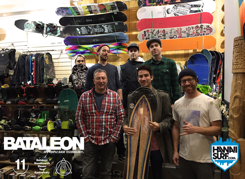 Thomas au shop pour récupérer son lot Bataleon Snowboard